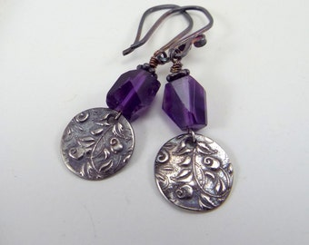 Sterling Silver Earrings Purple Amethyst Bead and Floral Silver Artisan Charm