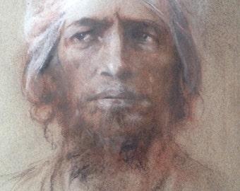 Portrait of a Bedouin Arab, T E Lawrence Arab Solider, Lawrence of Arabia, Bedouin Chief drawing, Arab in headdress, Man with beard
