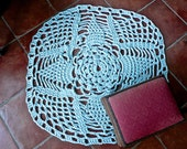 Doily Rug - Area Carpet - Out Door Mat - Mud Room Throw Rug - Hand Made - Outdoor Mat - Blue Grey Area Rug - Hearth Area Mat - Doily Rug