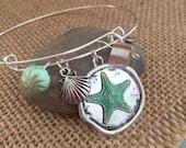 Sterling silver bangle charm bracelet. Ocean life