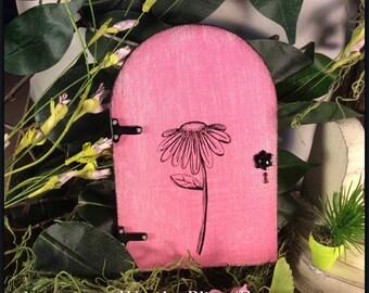 FAIRY DOOR, Fairy Garden, Pink fairy door, Outdoor, Birthday, Garden Decor, Gifts for Her, Wooden, distressed door, Housewarming, Flower