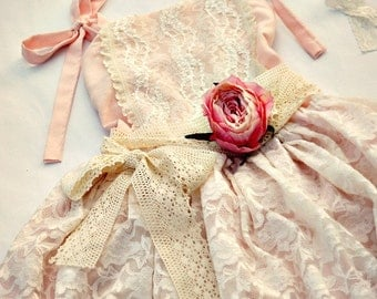 Vintage portrait or flower girl dress for toddlers, girls, baby ballet style with lace PINK