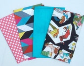 Four Fat Quarter Cuts - Pink Small Dots, French Bull Zig Zag Chevron, Turquoise, Teen Life, TOTAL of 1 Yard - FQ Bundle