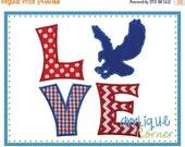 ON SALE 1668 LOVE Eagle Silhouette applique digital design for embroidery machine by Applique Corner