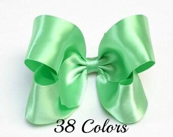 Mint Green Hair Bow,4 inch Bows, Satin Hair Bows,Mint Hair Bow,Girls Hair Accessories,Toddler Hair Bow,Girls Hair Bows,Hair Bows, 400, 904