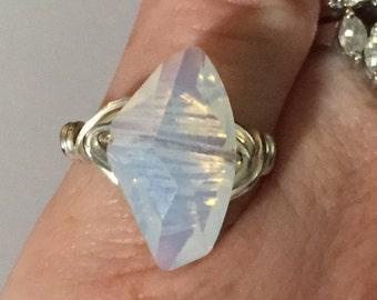 OOAK, Swarovski Galactic White Ring, Statement Ring, Summer Ring, Swarovski White Opal Ring