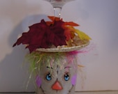 Scarecrow Wine Glass Candle Holder # 4