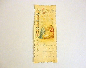 Vintage Colored Prayer Card 1900s Christmas Holy Family Antique Holy cards