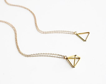 Layering Himmeli Pendant Necklace. Pyramid necklace. Geometric layering necklace.