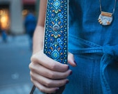 Camera Strap - Blue Peacock Feathers Woven Ribbon on Organic Hemp Webbing and Leather Ends - works with DSLR, SLR and Manual Cameras