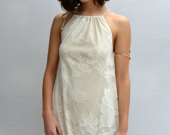 Kupu Kupu Halter Dress in Off White