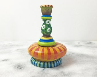 Hand Painted Wooden Candlestick - Wooden Candle Holder
