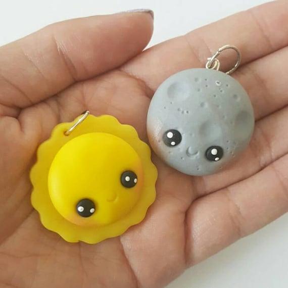 BFF Necklace Charms, Sun and Moon Charm, Sun, Moon, BFF, Polymer Clay Pendant, BFF, polymer clay, clay pendant, Kawaii, Chibi, Clay Charm