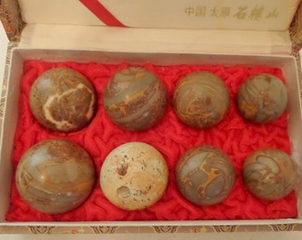 Asian Exercise Balls Relaxation Therapy, Vintage, Stone Balls, Restoration