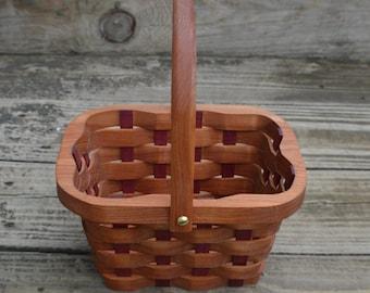 Flower girl basket handle Cherry wood