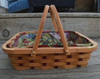single pie carrier tote basket Mulberry wood handles