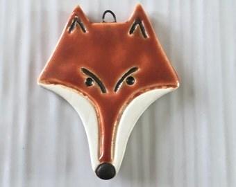Sly fox pendant, handmade ceramic fox head pendant