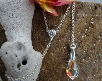 Swarovski tear drop lariat necklace. Sterling silver.