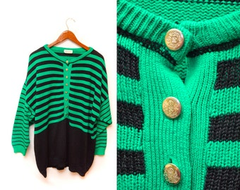 80s Green Striped Pullover Sweater Oversized Women's 2X-3X
