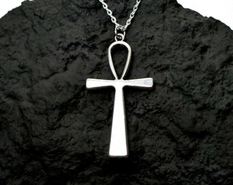Large Ankh Necklace, Everyday Silver Egyptian Jewelry, Large Ankh Pendant on Chain