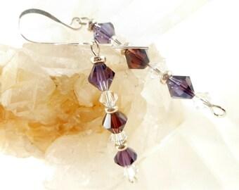 Purple Swarovski Crystal Earrings, Purple Earrings, Amethyst Earrings, February Birthstone Earrings, Swarovski Earrings Womens Jewelry