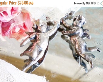 Sale Vintage Sterling Silver Angel Pins Set Of Two Cherub Angels Antique Cast Sterling Silver Jewelry, Gift For Her ,Wedding Vanity Photo Pr