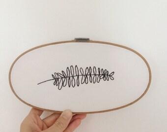 Botanical Oval Fern Embroidery
