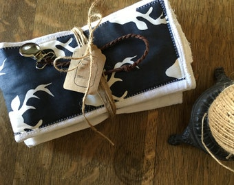 Burp Cloth and Pacifier Clip baby boy gift set - deer stag - antlers - navy - designer fabric