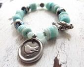Aquamarine bracelet Green Girl Studios bird charm bracelet quote charm beach boho bracelet gemstone stretch bracelet pewter bird brcelet