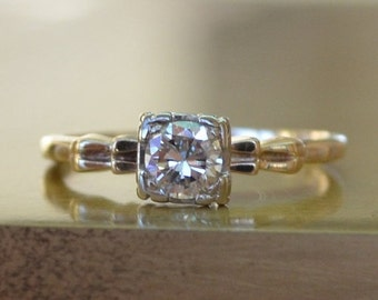 MAY(BE) SHE Will...Sale Hollywood Regency Diamond Solitaire: Half Carat Old European Mine Cut // Two-Tone White & Yellow Gold Engagement Rin