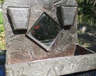 Steampunk shelf  candle holder matches flowers art deco stamped tin wall pocket planter washboard mirror knick knack holder