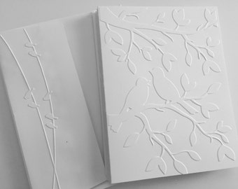 Note Card Set, Greeting Card Set, Embossed Cards, Blank Cards, Note Card Set, White Cards, Note Cards, Cards with Birds