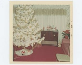 White Xmas Tree, 1968 Vintage Snapshot Photo (65461)