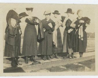 Vintage Snapshot Photo: Women Pretend Bundles of Joy with Overcoats, c 1910s  (69504)