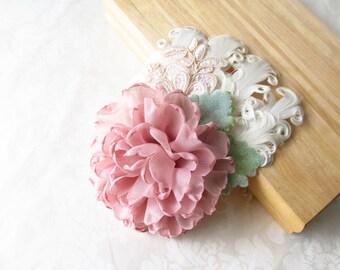 Chiffon Flower and Feather Hair Fascinator / Hair Clip /  Bridal Hair Clip /
