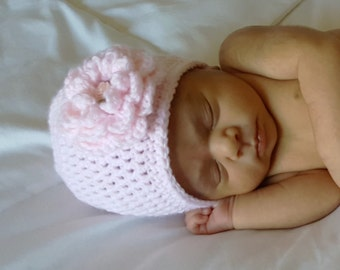 Crocheted Baby Flower Hat, Pink Baby Hat, Baby Girl Hat
