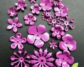 FG-FG-09076SN- Nickel free, Color enameled,  set of flower filigree, purple, 24 pcs