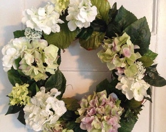 Spring Wreath, Green, White and Lavender Hydrangea Wreath, Summer Wreath, Mother's Day, Front Door Decor