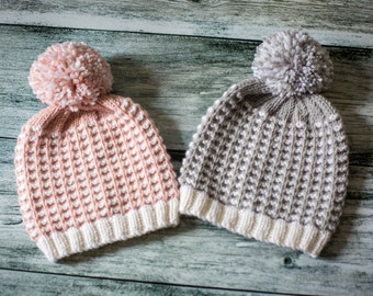 Knitting Pattern/DIY Instructions - Tweed Pom Pom Hat - Babies & Toddlers