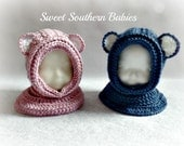 Baby Bear Hooded Cowl - Boy or Girl - Baby - Toddler - Pink or Blue - Baby 6-12 Months, 12-24 Months, 2T-3T