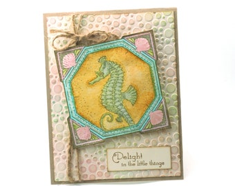 Seahorse blank card, beach theme, nautical, ocean, sea creature embossed greeting cards