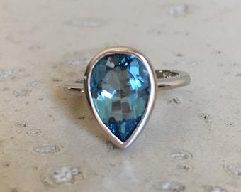 London Blue Topaz Ring- Dark Blue Engagement Ring- Something Blue Promise Ring- December Birthstone Ring- Pear Shape Ring- Simple Blue Ring