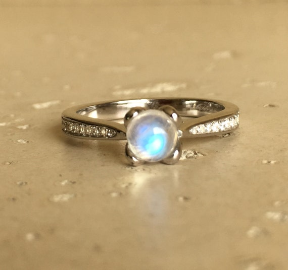 Lotus Promise Moonstone Ring Simple Small Bridal Ring 4 by Belesas