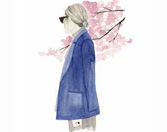 Blossom, print from original watercolor and mixed media fashion illustration by Dena Cooper