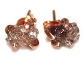 Raw Zircon Stud Earrings Organic Earring Peach Zircon Jewelry Rose Gold Stud Free Form Earring Natural Zircon Prong Set Earring Raw Gemstone