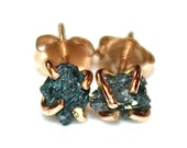 Raw Diamond Earrings Blue Diamonds Rough Diamond Studs Real Diamond Jewelry Tiny Earrings Small Earrings Natural Diamond Modern Jewelry