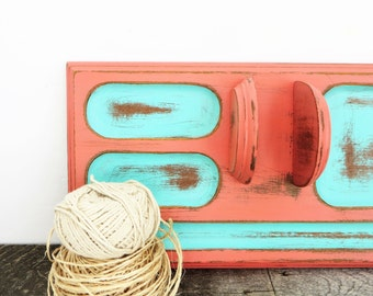 Coral Turquoise Jewelry Valet - Upcycled Distressed - Organization