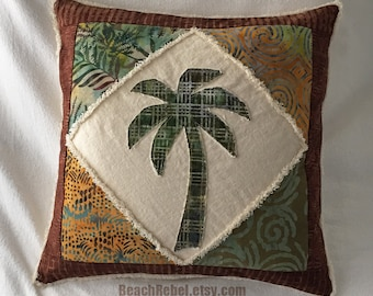 "Palm tree boho pillow cover patchwork batik in greens, browns, and earth tones batik and natural denim 18"""
