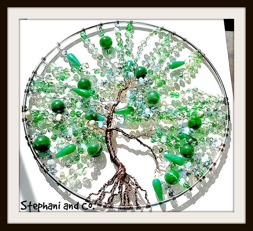 stunning tree of life wall decor with emerald by stephaniandco. Black Bedroom Furniture Sets. Home Design Ideas