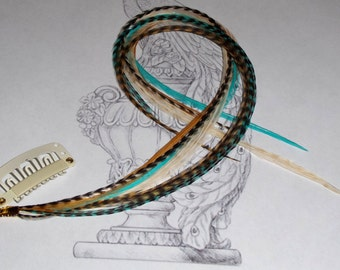Clip in Feather Extension turquoise, golden copper,natural cream, and natural grizzly